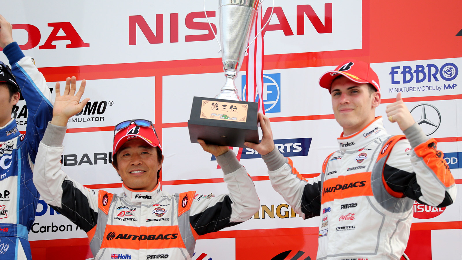Super GT rookie Sean Walkinshaw celebrates first GT300 podium.