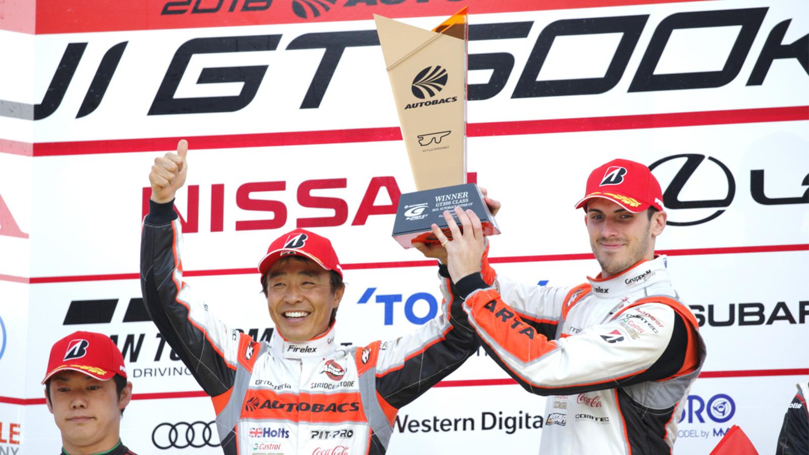Britain's Sean Walkinshaw celebrates stunning win at Fuji.